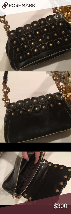 """Maxx NY Black Leather Gold Stud Bag Love this one. Used once to a concert when I wanted to look """"edgy."""" Purchased it at a high end retailer new. Not sure want to sell so just make me an offer! Maxx NY Bags Mini Bags"""