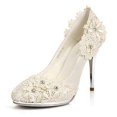 elegantes satén bombas de tacón de aguja del talón / punta cerrada con flor de la boda / fiesta zapatos – EUR € 65.99