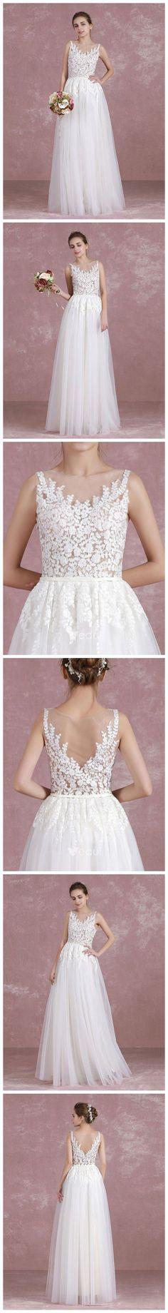 CHIC A-LINE SCOOP TULLE WHITE APPLIQUE LONG PROM DRESS WEDDING DRESS AM727 #white #lace #weddingdress