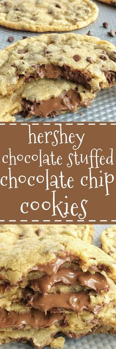 Giant chocolate chip cookies that are stuffed with Hershey chocolate! The best chocolate chip cookie dough loaded with mini chocolate chips and then stuffed with more chocolate. These are actually very simple to make. Giant chocolate stuffed chocolate chip cookies are an over the top dessert that everyone will go crazy for!