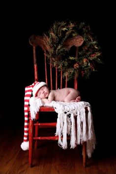 Candy Cane Baby Elf Hat holiday newborn photo