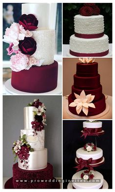 Burgundy or marsala is without doubt the most popular wedding color for the coming autumn and winter seasons. Extravagant Wedding Cakes, Amazing Wedding Cakes, Elegant Wedding Cakes, Wedding Cake Designs, Red Wedding Cakes, Burgundy Wedding Cake, Berry Wedding, Fall Wedding, Wine Colored Wedding