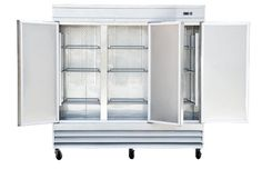 """Universal USD81 81"""" Three Section Solid Door Reach in Refrigerator - 72 Cu. Ft."""