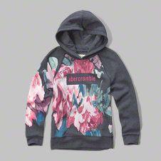 girls long graphic hoodie