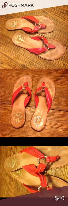 Lily Pulitzer sandals size 8 Lily Pulitzer sandals size 8. Coral. Leather uppers. Silver tone hardware. Good condition Lilly Pulitzer Shoes Sandals