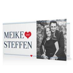Einladung Herzensangelegenheit in Ozean - Klappkarte flach lang #Hochzeit #Hochzeitskarten #Einladung #Foto #modern #Typo https://www.goldbek.de/hochzeit/hochzeitskarten/einladung/hochzeitseinladung-herzensangelegenheit?color=ozean&design=e236b&utm_campaign=autoproducts