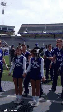 I see your cheerleader backflip and raise you another!