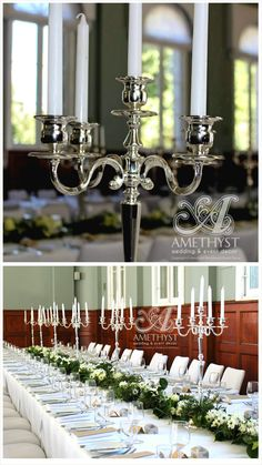 Classic romantic wedding centrepieces: 60cm silver 5 arm candelabras, tall white dinner candles, white floral greenery table garland runner