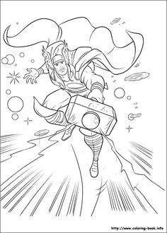 Thor coloring page (site has tons of coloring pages)