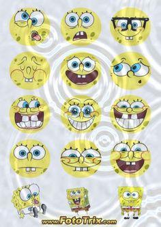 Sponge Bob faces for cupcake tops