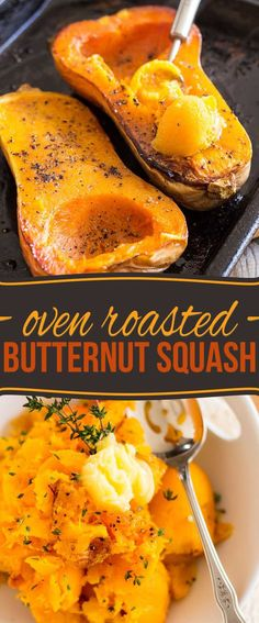 This simple oven-roasted butternut squash is a simple, savory side dish with fresh herbs and garlic. #ovenroasted #butternut #squash #easyrecipes #healthyrecipes
