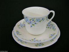 Crown Staffordshire Vintage Fine Bone China Trio Cup Saucer Plate Rock Garden