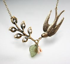 Bird Necklace with Branch  Leaf and Flower by smilesophie on Etsy, $19.00