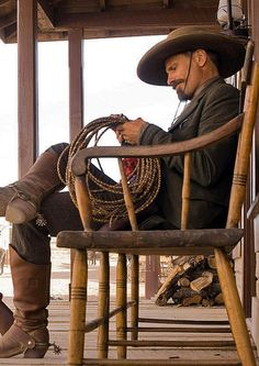 "Viggo Mortensen in ""Appaloosa"" working on a reata."