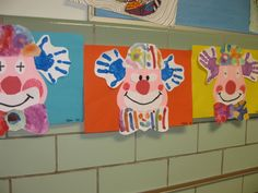 Hand print clowns | Children | Kids Art | Education | Teachers | harrypierre.com Classroom Art Projects, Art Classroom, Projects For Kids, Crafts For Kids, Clown Crafts, Circus Crafts, Preschool Circus, Preschool Crafts, Preschool Ideas