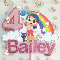 True and the Rainbow Cake Topper Hello Craft, Dinosaur Pattern, Birthday Numbers, Throw A Party, Cake Decorating Techniques, W 6, 4th Birthday, Cake Toppers, Party Time