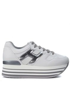 HOGAN Sneaker Hogan Maxi H222 In Pelle Grigia. #hogan #shoes #https: