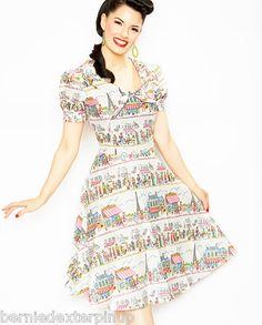 35bd495506e Bernie Dexter Pin Up Paris Print Swing Dress L