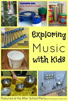 Could do this with older kids. Music Ideas for Summer Fun {After School Link Up Party} The Educators' Spin On It . Tips for Exploring Music with Kids using DIY Instruments indoors and outdoors! Music Education, Childhood Education, Physical Education, Health Education, Teaching Music, Teaching Kids, Homemade Instruments, Making Musical Instruments, Music Crafts