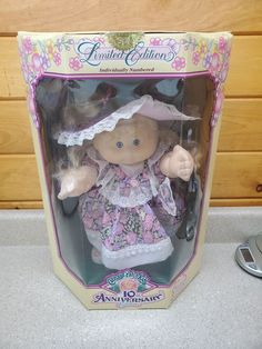 New In Box Vintage Limited 10th Anniversary Edition Cabbage Patch Kid named Zora Mae. Each doll is individually numbered and has a fabric covered face and all soft body.She is a full sized doll that is dated 1992 original Appalachian Artworks distributed by Hasbro. The box has never been opened, smoke free home, plastics are not damaged, nor yellowed, and box is good condition with a few creases. Cabbage Patch Kids Names, Cabbage Patch Kids Dolls, 10 Anniversary, Child Doll, Fabric Covered, Kid Names, Beautiful Dolls, Toy Chest, Kids Toys
