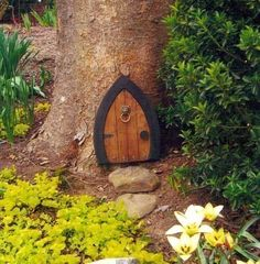 Gnome doors, Fairy Doors, Faerie Doors, Elf Doors, 12 inch, lion knocker.. $29.00, via Etsy.