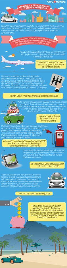 Infografiikka: Vinkkejä säästämiseen autonvuokrauksessa Auto Europen kautta - Muut infografiikkamme löydät täältä: http://www.autoeurope.fi/go/infographics/