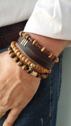 Kit pulseiras masculinas terra: