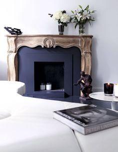 blue-painted fireplace, antique mantel, half-modern and half-ancient… / Home Fireplace, Fireplace Design, Fireplace Mantels, Black Fireplace, Mantle, Interior And Exterior, Interior Design, Boho Home, Beautiful Space