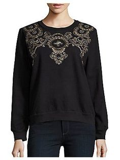 Lovers + Friends Cotton Crewneck Pullover - Black - Size