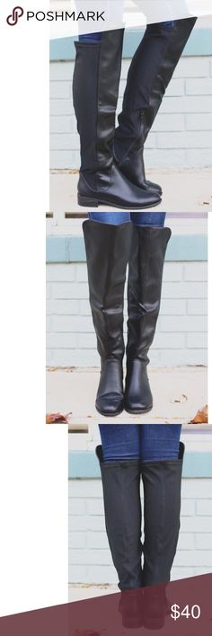 """JUST IN! Faux Leather Over the Knee Boots This beautiful pair of black faux leather over-the-knee boots has a stretchy back panel that alllows for free movement as you put your boots on and wear them throughout the day.  They each have a partial inside zipper and approx 1"""" heel height.  NIB Shoes Over the Knee Boots"""