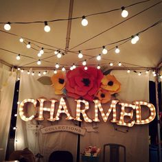 Marquee Lights made of cardboard and foam board for farmer's market booth. | @charmyoself, Hand-stamped jewelry, Craft Lake City