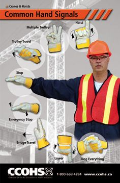 Reinforce the most common hand signals for cranes and hoists.  Download this poster for free from: http://www.ccohs.ca/products/posters/handSignals.html or buy full colour copies for only $6 each.