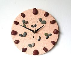 Unique Wall Clock  Real Pebbles and Mulberry by NaturalClocks, £15.00