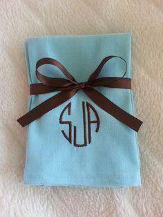 Custom monogram cloth napkins! Follow us on social media at Meme's Sweet Treasures!