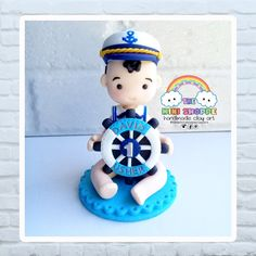 BABY BOY IN NAUTICAL OUTFIT CAKE TOPPER 100% HANDMADE MATERIAL : POLYMER CLAY Polymer Clay Cake, Polymer Clay Crafts, Nautical Outfits, Cake Toppers, Baby Boy, Cute, Handmade, Kawaii, Hand Made