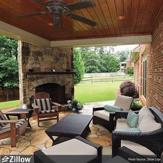 Fireplace and covered porch                                                                                                                                                     More