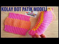 Knitting Basics: Easy two skewers women crochet socks booties styles beginner Gestrickte Booties, Knitted Booties, Lace Up Booties, Knitted Bags, Bootie Boots, Circular Knitting Needles, Knitting Stitches, Knitting Socks, Baby Knitting
