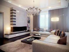 peinture en couleur taupe dans un salon contemporain neutre, coussins marrons et rideaux marrons