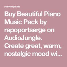 Buy Beautiful Piano Music Pack by rapoportserge on AudioJungle. Create great, warm, nostalgic mood with this beautiful piano tracks. Featuring piano as the main instrument (and freq...