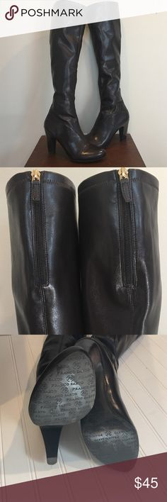 "Franco Sarto Knee Boots Great condition - Maybe worn a couple of times- zipper as shown - boot rise is 19"" - heel is 3 1/2"" -  calf is 15"" - man made materials Franco Sarto Shoes Over the Knee Boots"