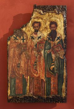 """Byzantine icon of """"The Three Holy Hierarchs"""" Greek Icons, Byzantine Icons, Story Of The World, Orthodox Icons, Great Love, Catholic, Decoupage, Third, Hand Painted"""