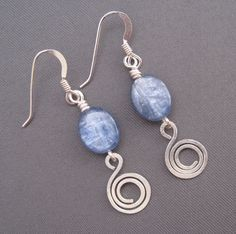 Kyanite and Spiral Wire Earrings