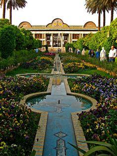 walking gardens surrounding city  Iran Shiraz. Eram Garden