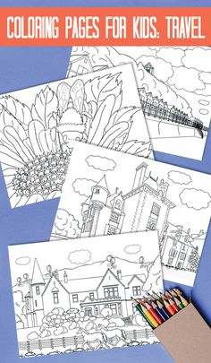 Kids colouring pages on a travel theme have lots of fun with!