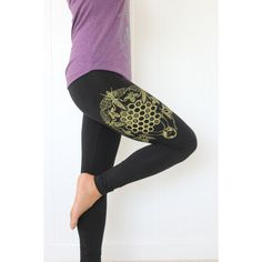 Honey Bee Leggings Ophrys Orchid Leggings Sacred Geometry Leggings... ($27) ❤ liked on Polyvore featuring pants, leggings, black, women's clothing, stretch leggings, stretch waist pants, nebula print leggings, stretch pants and honey comb