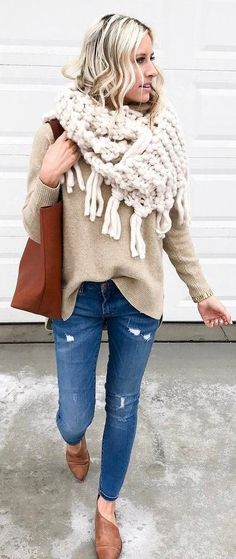 #winter #fashion /  Fringe Wool Scarf / Beige Knit / Ripped Denim / Camel Leather Pumps