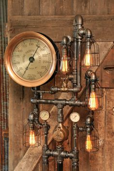 """this design is made to order and make take 4 weeks to ship. We have many of these large 14"""" steam gauges, we can send you photos to choose from. Lamp #1243 Each lamp has a unique serial number and signed, (serial numbers can be tracked on our website) Copyrighted design, We will register this design with the copyright office as a work of art/sculpture Amazing antique steam gauge! Large 14.5"""" diameter This is a super nice gauge, with the open middle exposing the gears and ..."""