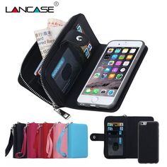 9d097f918b5 For iPhone 5S Case Magnetic 2 in 1 Zip Wallet Detachable Phone Bag For  iPhone 5 se Case 5S 6 6S Plus 7 7 Plus Case Strap Leather-in Fitted Cases  from ...