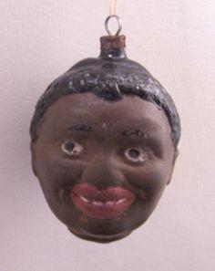 VINTAGE GERMAN CHRISTMAS HAND BLOWN BLACK MAN AL JOLSON HEAD ORNAMENT