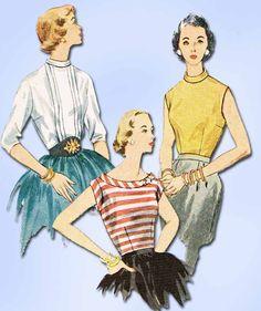 1950s Vintage Simplicity Sewing Pattern 3771 Uncut Misses Blouse Set Size 12 30B